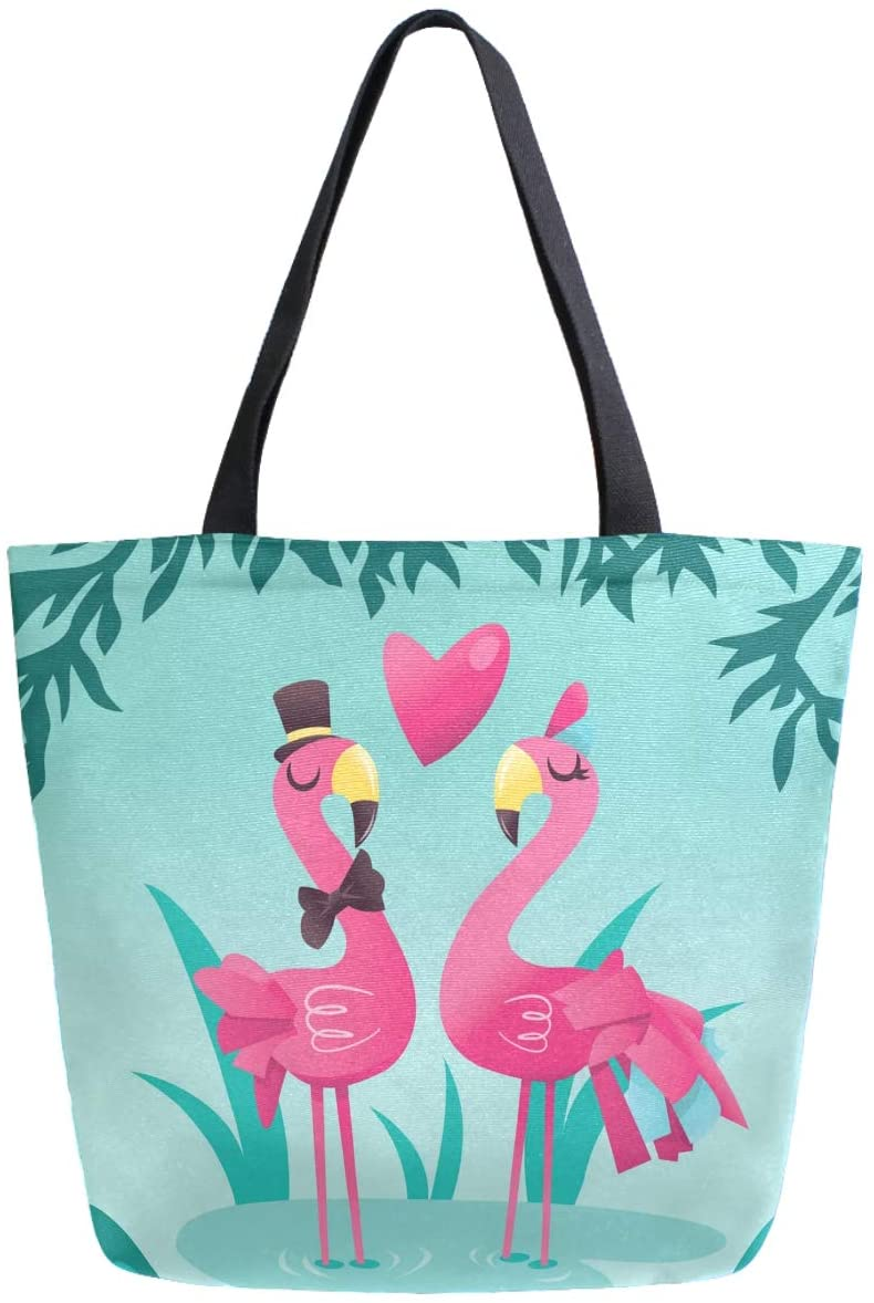 ZzWwR Tropical Cute Couple Flamingos Large Canvas Shoulder Tote Top Handle Bag for Gym Beach Travel Shopping