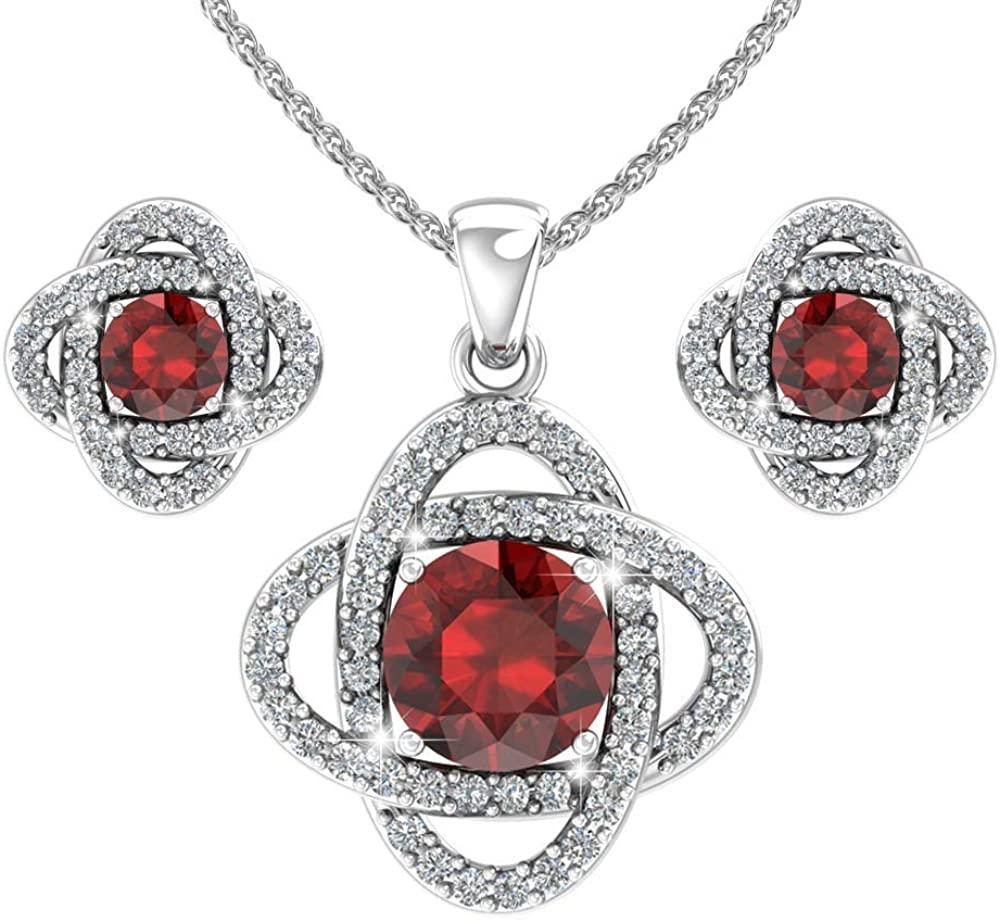 Belinda Jewelz Sterling Silver Love Knot Stud Earrings and Pendant Necklace Set
