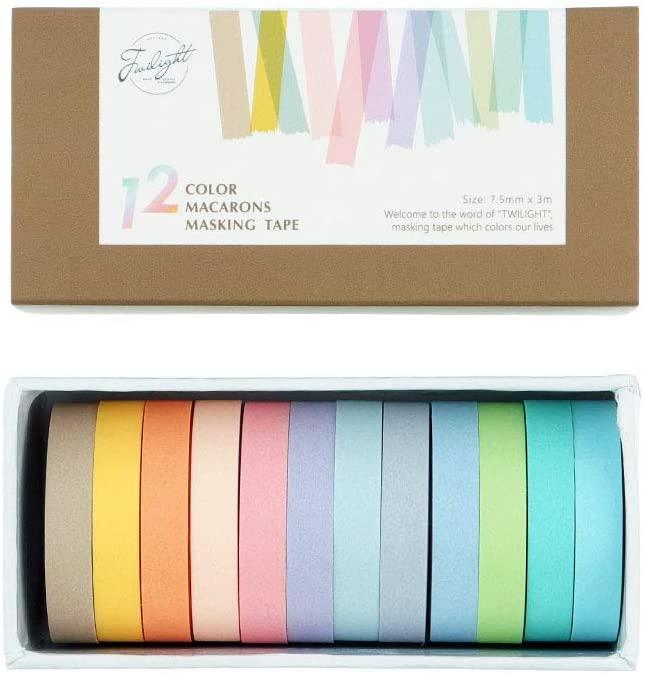 12 Rolls Washi Tape Set, NogaMoga Solid Color 7.5 mm Wide 12 Colors Decorative Masking Tapes for Arts, DIY Crafts, Bullet Journals, Planners, Scrapbooking