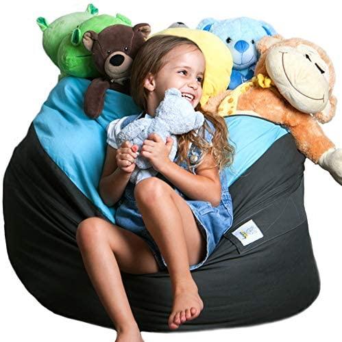 Bean bag Stuffed Animal Storage |2 Sizes in 1 XXL Jumbo Ottoman for Soft Toys, Plush Toys | Giant Pouf Organizer for Linens, Quilts, Pillows | 300 L. / 80 Gal. | 42