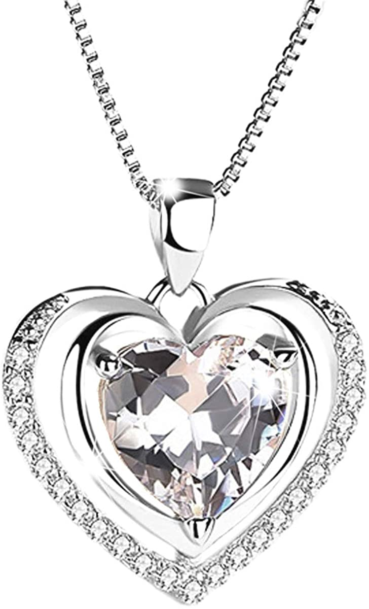 Sutyle Heart Shape Cubic Zirconia Pendant Necklace with Sterling Silver Box Chain Necklaces for Women