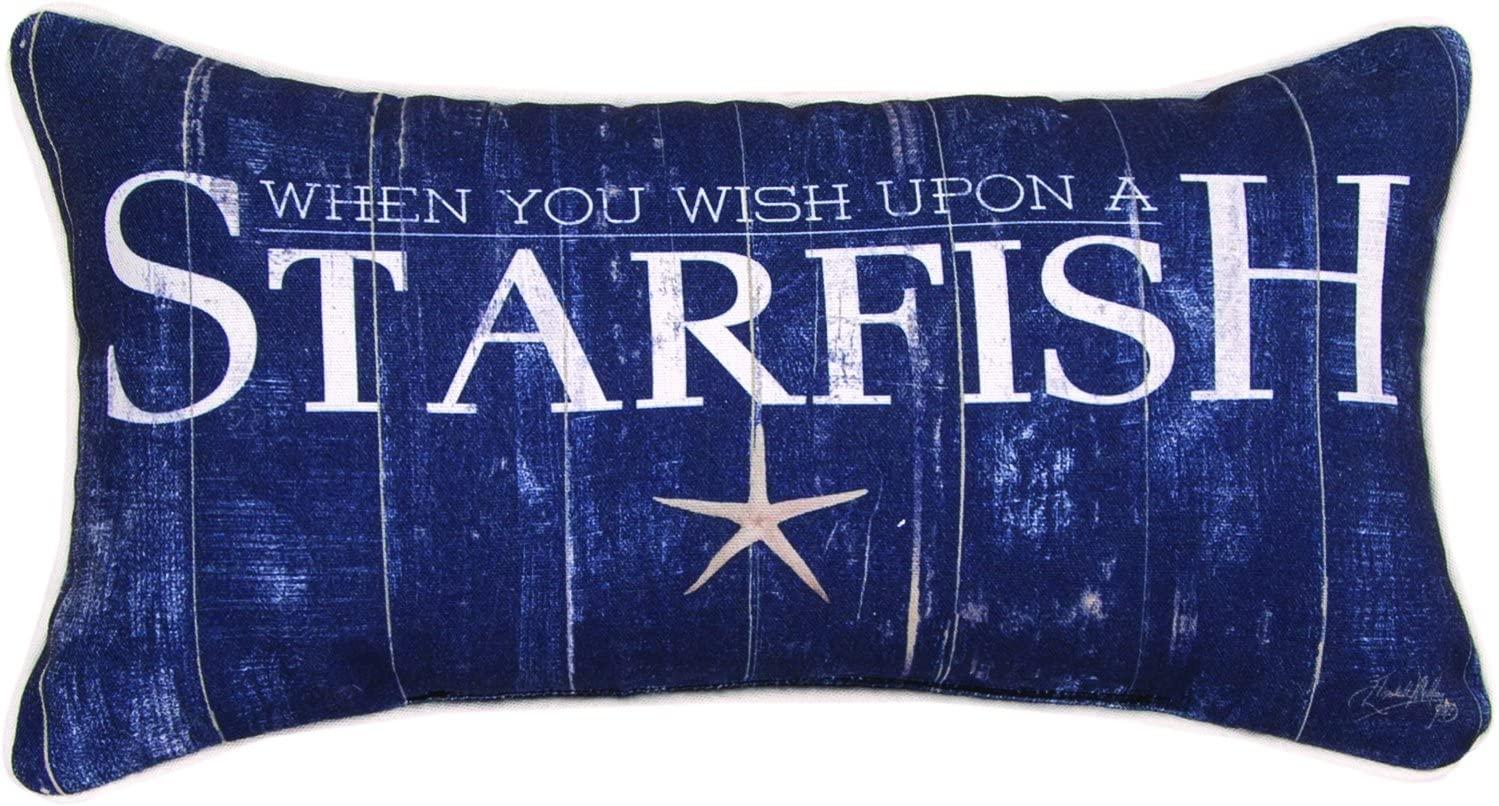 Wish Upon a Starfish Navy Blue Throw Pillow 17