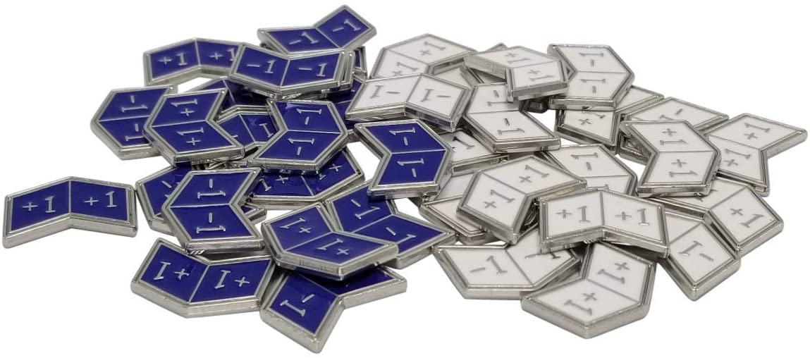 Set of 40 Metal Buff Counters, Token, Creature Stats or Loyalty, Double Sided +1/+1 and -1/-1 for CCG, MTG Magic: The Gathering, 20 Blue and 20 White Enamel (Azorius)