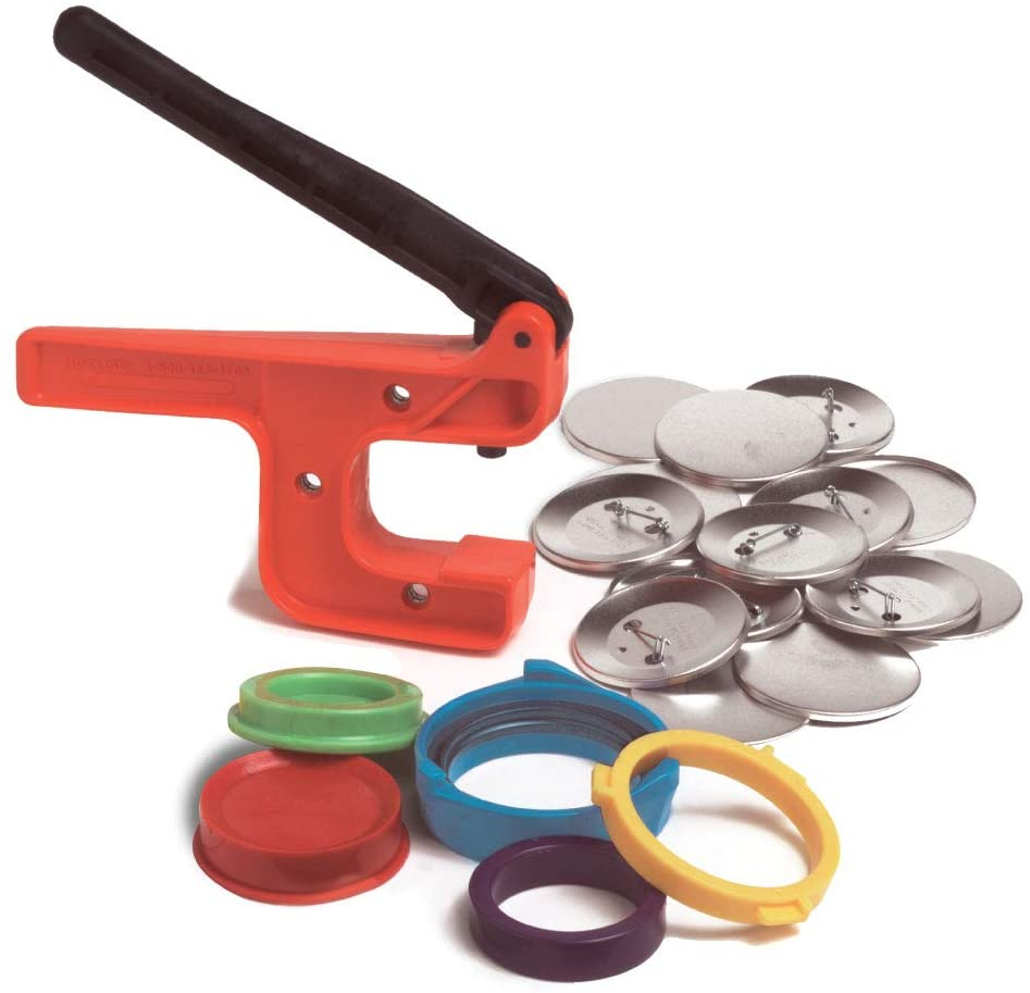 Badge-A-Minit 100M 2 1/4 Button Making Machine Deluxe Starter Kit with Pre-Made Designs