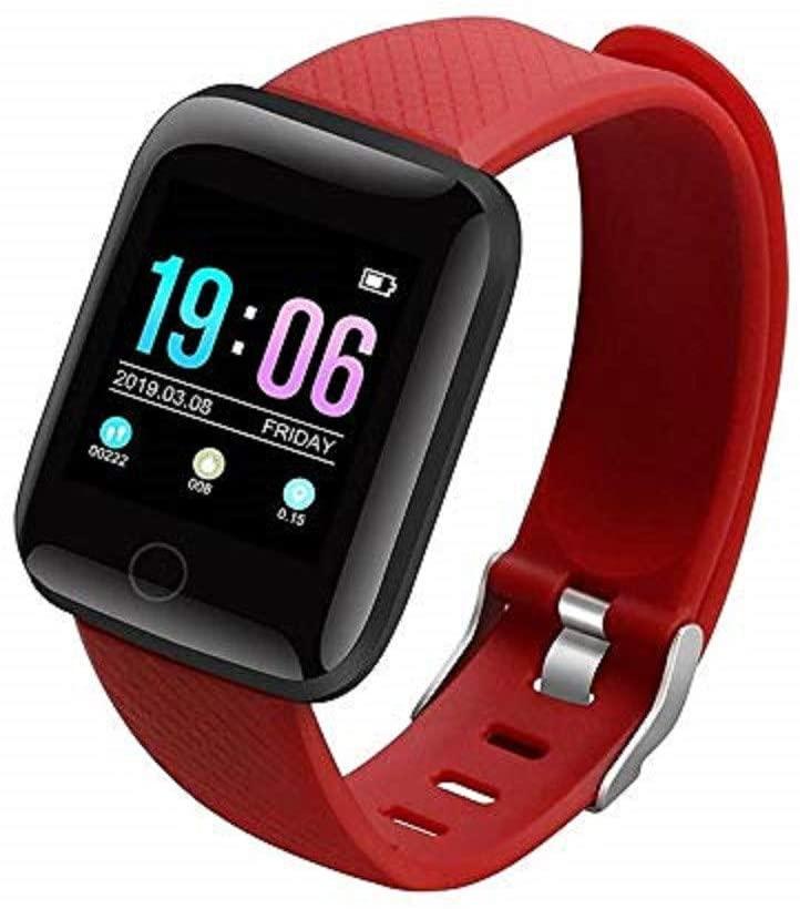 Sports Smart Watch Fitness Tracker for Men Women Smart Wristband Health Fitness Smart Sleep Monitor Smart Watch (Red)