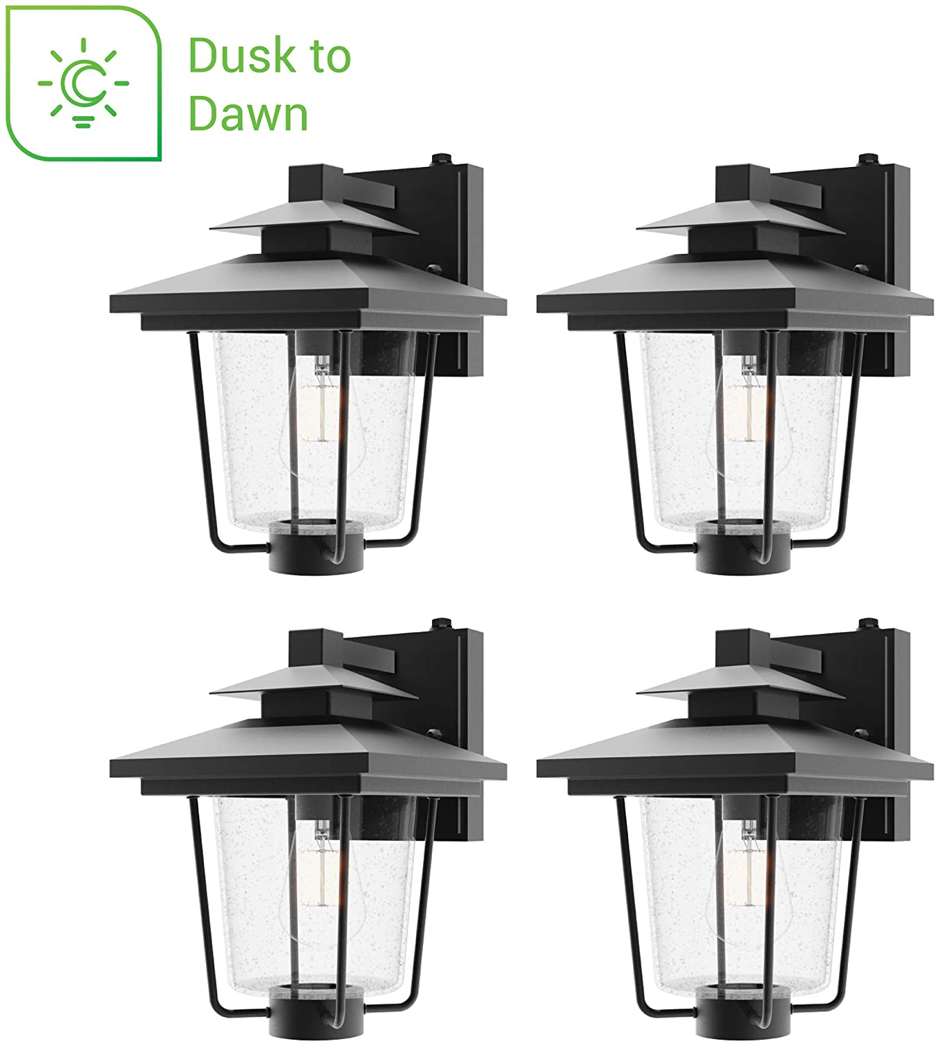Sunco Lighting 4 Pack Cage Wall Sconce, Vintage Victorian Style, Matte Black, Seeded Glass Shade, Dusk-to-Dawn Photocell Sensor, E26 Base, Outdoor Lantern, Waterproof, Suitable for Porch, Patio