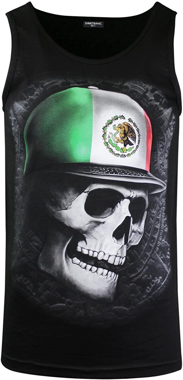 ShirtBANC Mexican Skull Aztec Calendar Mens Tank Top Shirt Mexico Pride Tee (Mex Skull Tank, M)