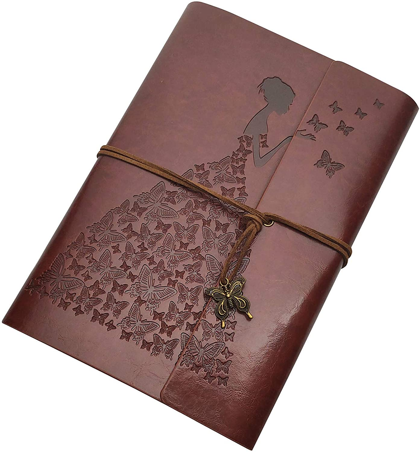 Butterfly Journal Leather Refillable Notebook Premium Retro Spiral Notebook Classic Binder Vintage Embossed Travelers Journal for Art Sketch Travel Diary and Journal Records (Dark Brown, A6)…
