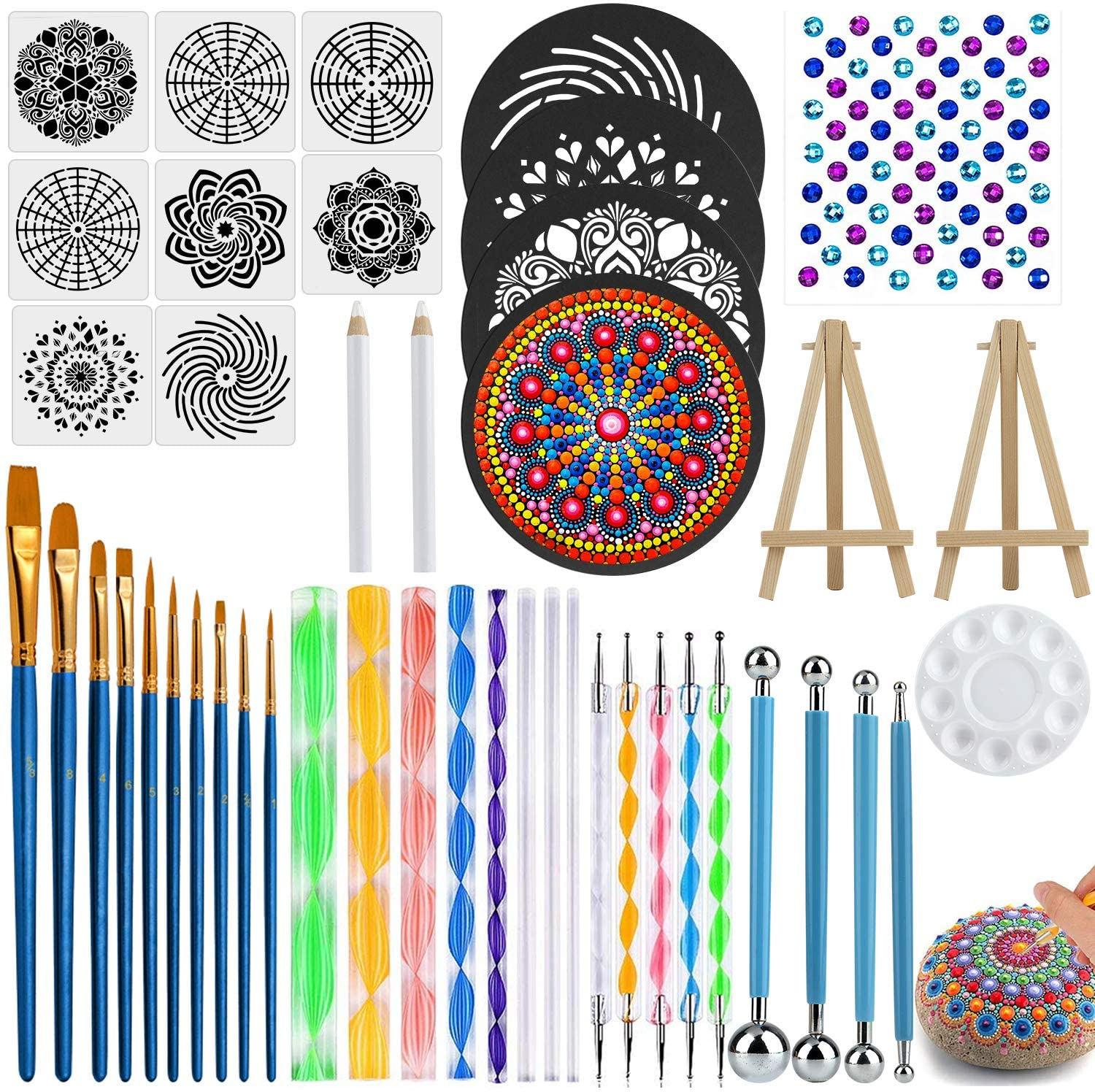 Apsung 45 PCS Mandala Dotting Tools Set, Professional Stencil Painting Arts Supplies Tools Kits Including Stencil Templates, Mini Easel for Painting Rocks Drawing, Drafting, Painting and Coloring