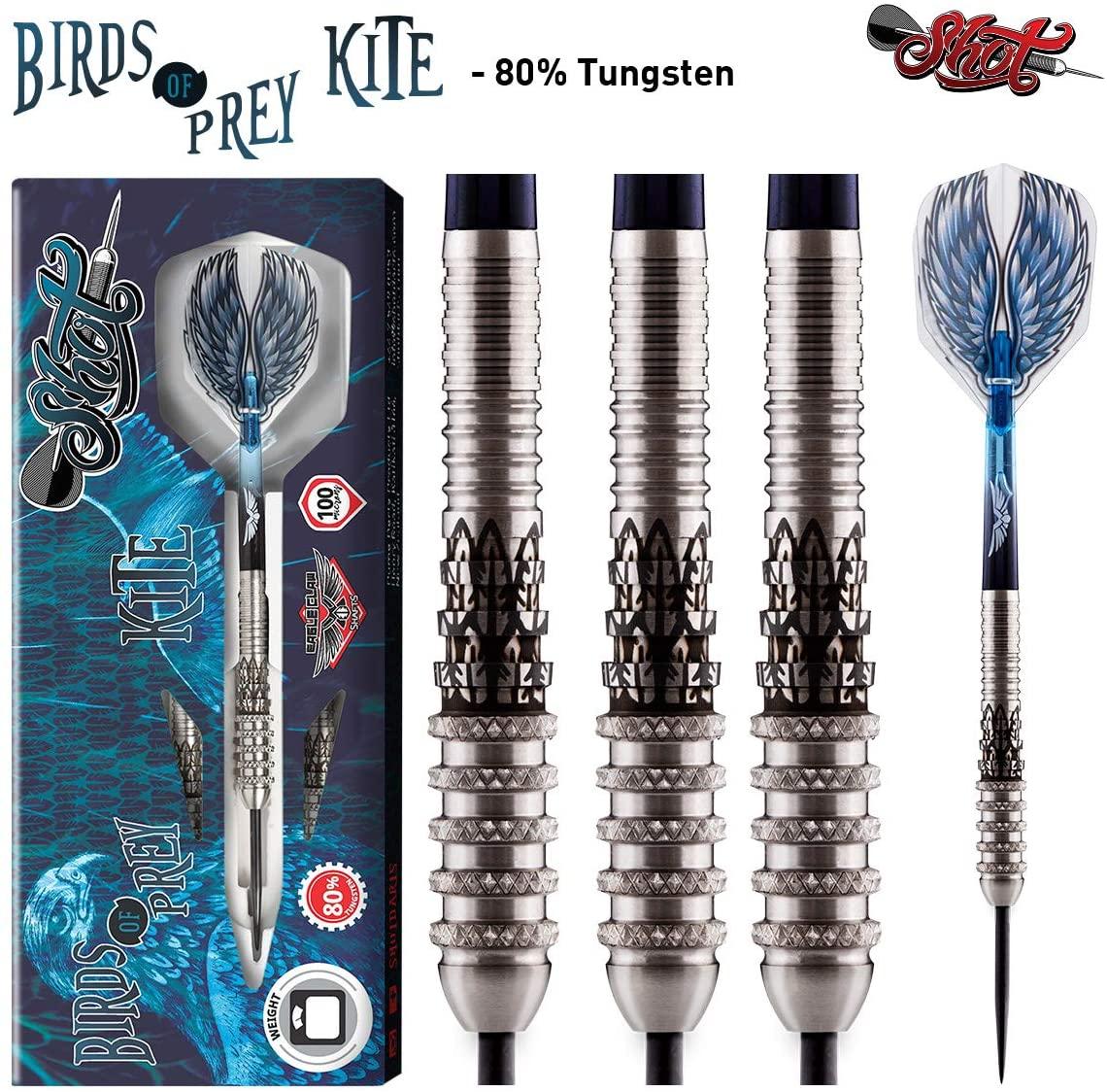 Shot! Darts Birds of Prey Kite Steel Tip Dart Set-80% Tungsten Barrels