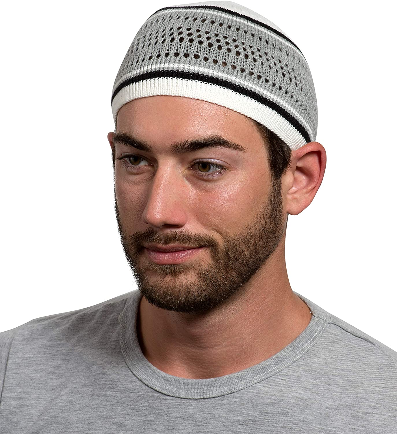 100% Cotton Skull Cap Chemo Kufi Under Helmet Beanie Hats in Solid Colors and Stripes