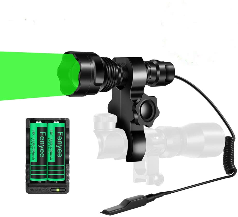 Fenyee Green Light 450 Yards Spotlight Zoomable Tactical Hunting Flashlight Torch for Hog Pig Coyote Varmint