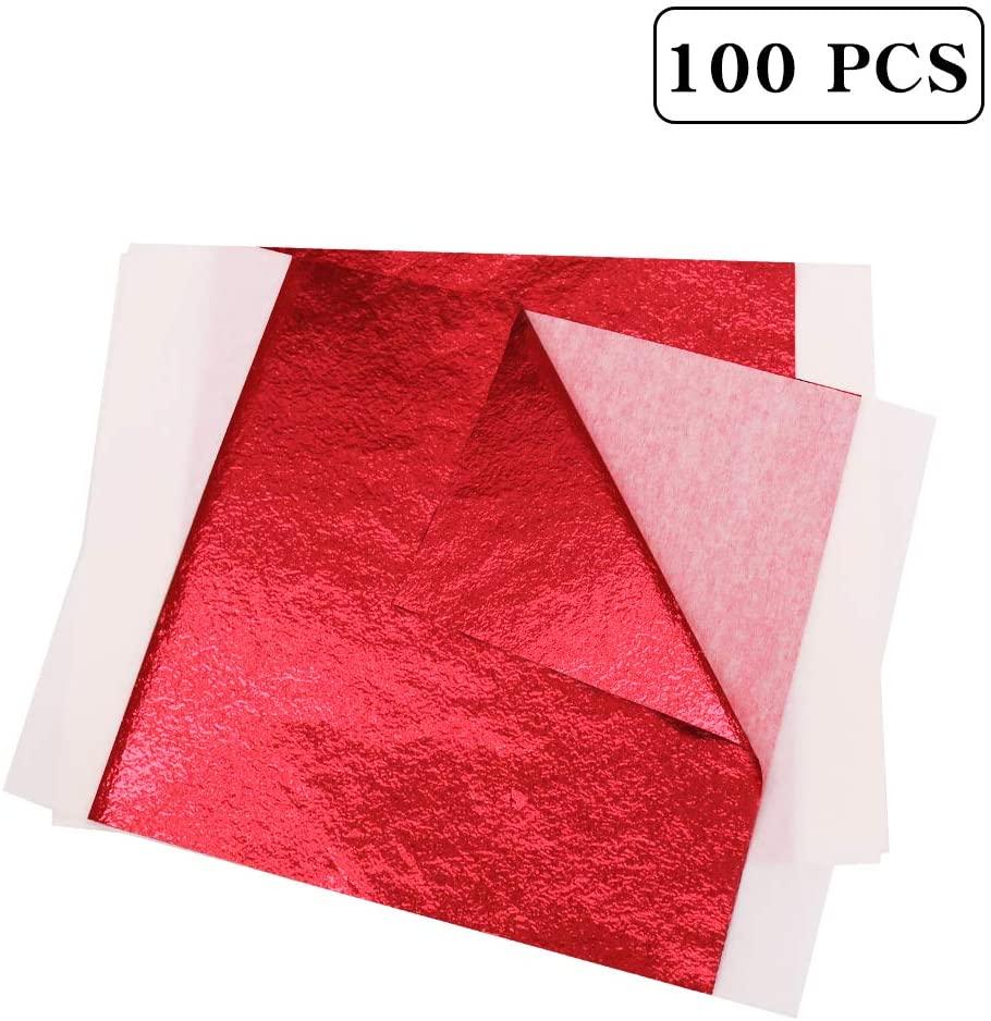 KINNO Gilding Gold Leaf Sheets,Red Decoration Sheets 5.1