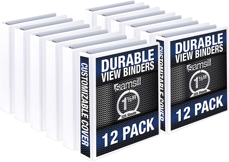 Samsill Durable 1.5 Inch Binder / White Round Ring Binder / Customizable Clear View Binder / Bulk Binder 12 Pack / White 3 Ring Binder / 1.5 Inch Binder
