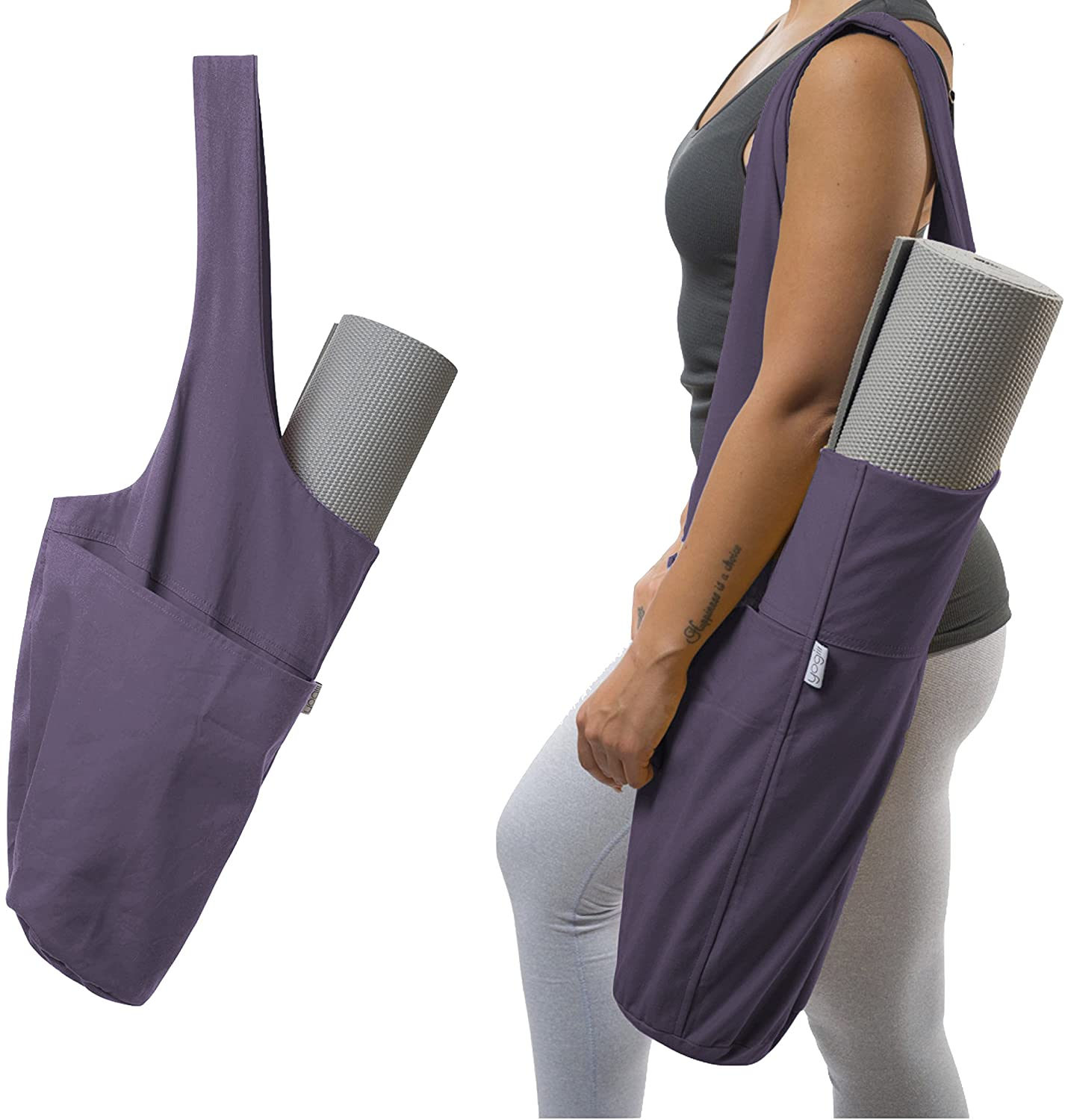 Yogiii Yoga Mat Bag | The Original YogiiiTote | Yoga Mat Tote Sling Carrier with Large Side Pocket & Zipper Pocket | Fits Most Size Mats