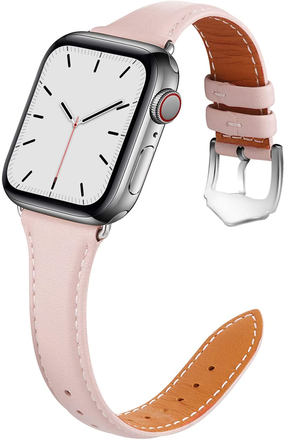 Compatible with Apple Watch Band 38mm 40mm Women for Series 5 4 3 2 1. Pierre Case for iWatch Bands Durable Genuine Leather Replacement Strap (Pink)