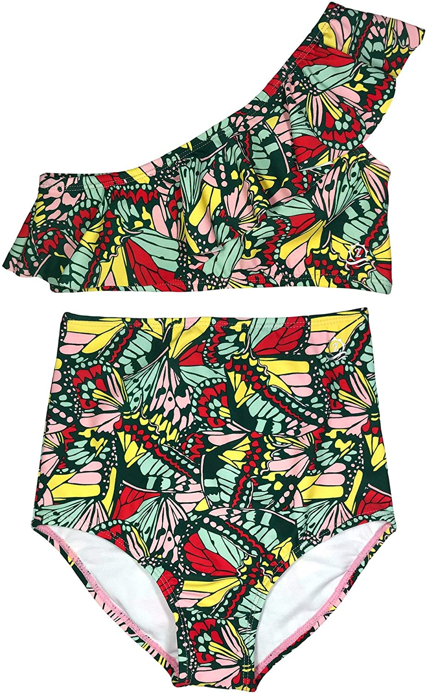 SwimZip Girls One-Shoulder + High Waist Bottom Swimsuit (2 Piece) UPF 50+