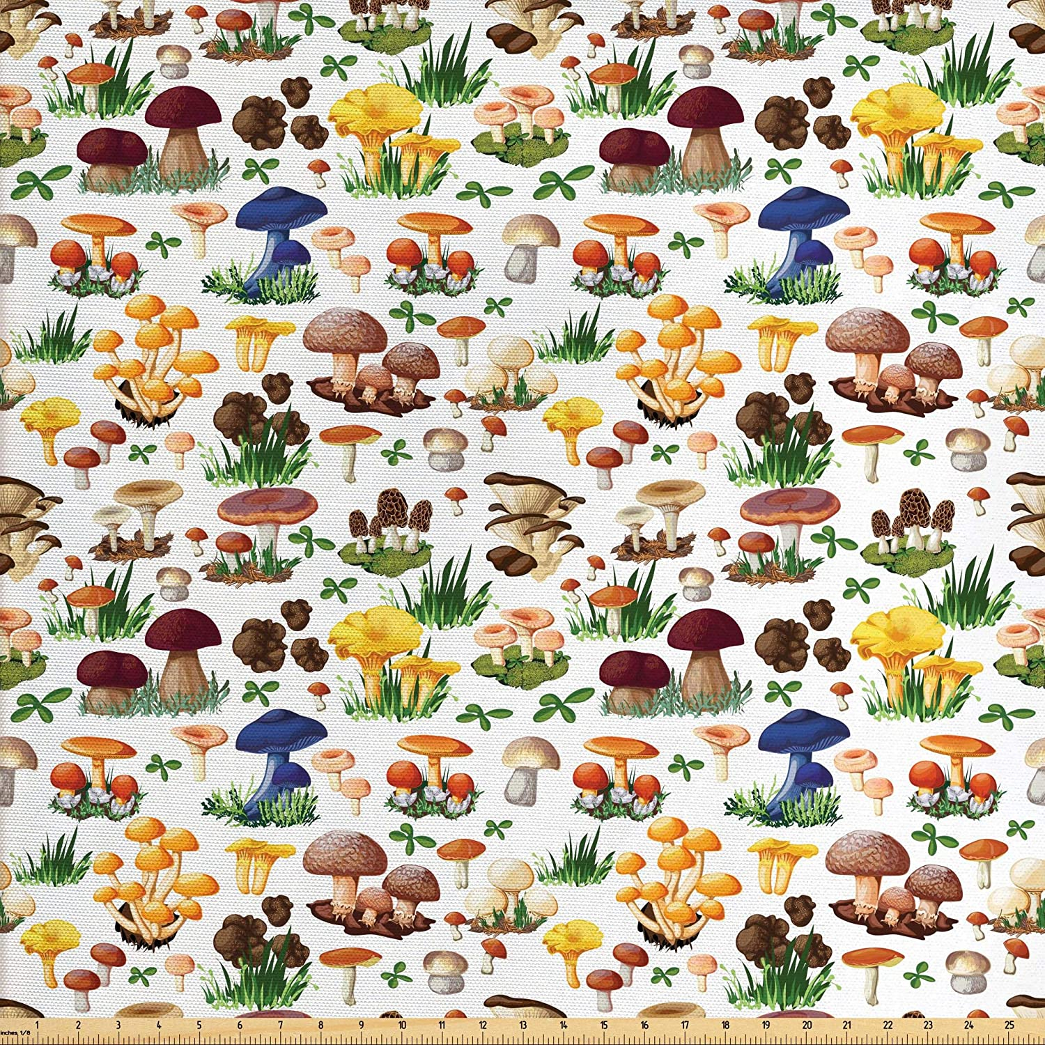 Ambesonne Mushroom Fabric by The Yard, Pattern with Types of Mushrooms Wild Species Organic Natural Food Garden Theme, Decorative Fabric for Upholstery and Home Accents, 1 Yard, White Yellow