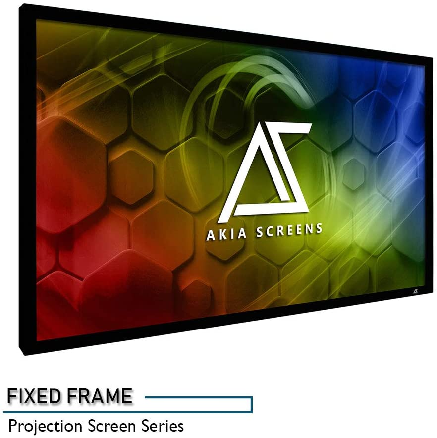 Akia Screens 100 inch Fixed Frame Projector Screen Wall Mount 16:9 8K 4K Ultra HD 3D Ready CINEWHITE UHD-B Black 100