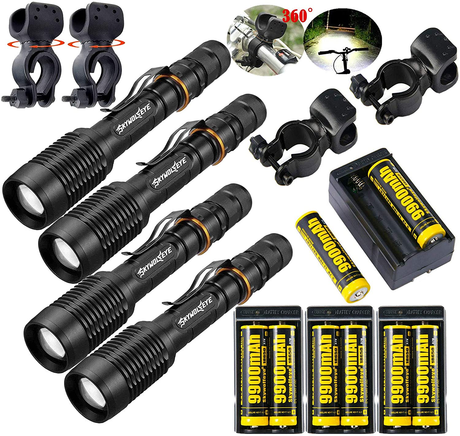 4 Set Police Tactical 350000Lumens 5 Modes 18650 LED Flashlight Waterproof Aluminum Zoom Torch Rechargeable Batteries Dual Smart Battery Chargers Bike clip for Camping Hiking Running Outdoor