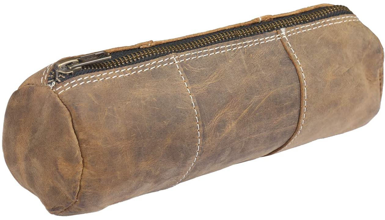 Leather Pouch for Pencils - Zipit Case for School and Office Accessory for Pencil Artists- 8 x 2.5 inches - Brown