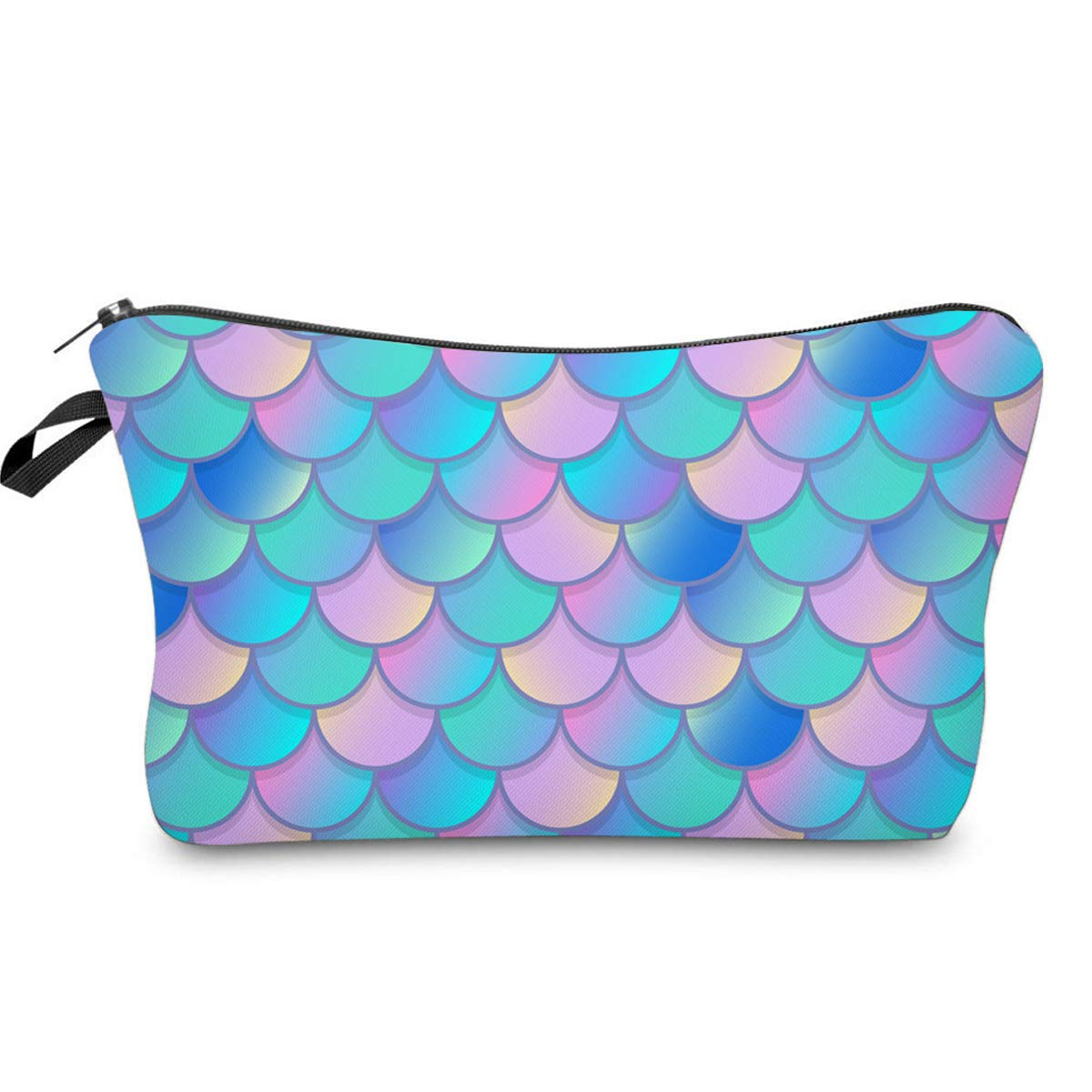 Mermaid Makeup bag Double-sided Printied Waterproof Travel Cosmetic Bag Zipper Pouch Small Toiletry Organizer, Adorable Roomy Mermaid Pencil Case for Girls Gifts Bag