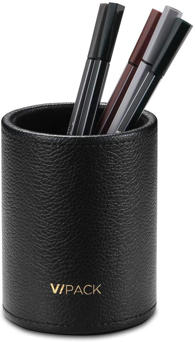 Vpack Round Pen Pencil Cup Holder Stand Desk Office Organizer, PU Leather Desktop Supplies Organizer for Home, School, Office(Black)