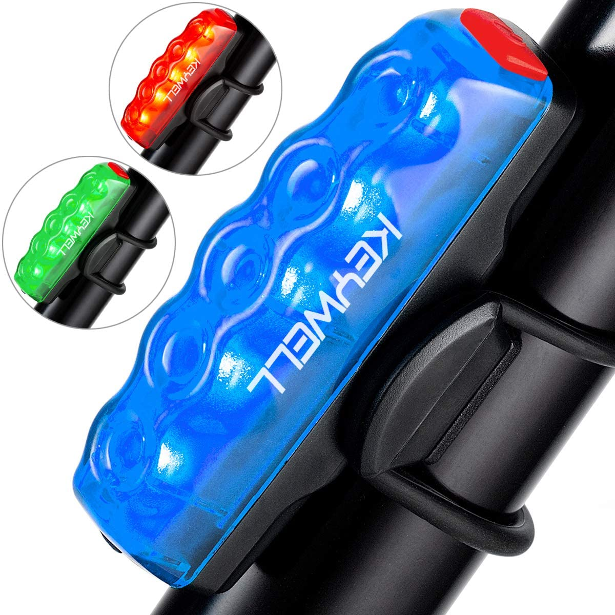 KEYWELL Bike Tail Light USB Rechargeable-Super Bright LED Bicycle Rear Light with Red/Blue/Green Color Waterproof Taillight for Cycling Safety
