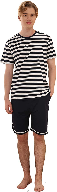 Men's Summer Striped Pyjamas Short Sleeve Pajamas Casual Shorts & Shirt PJ Set S-XL