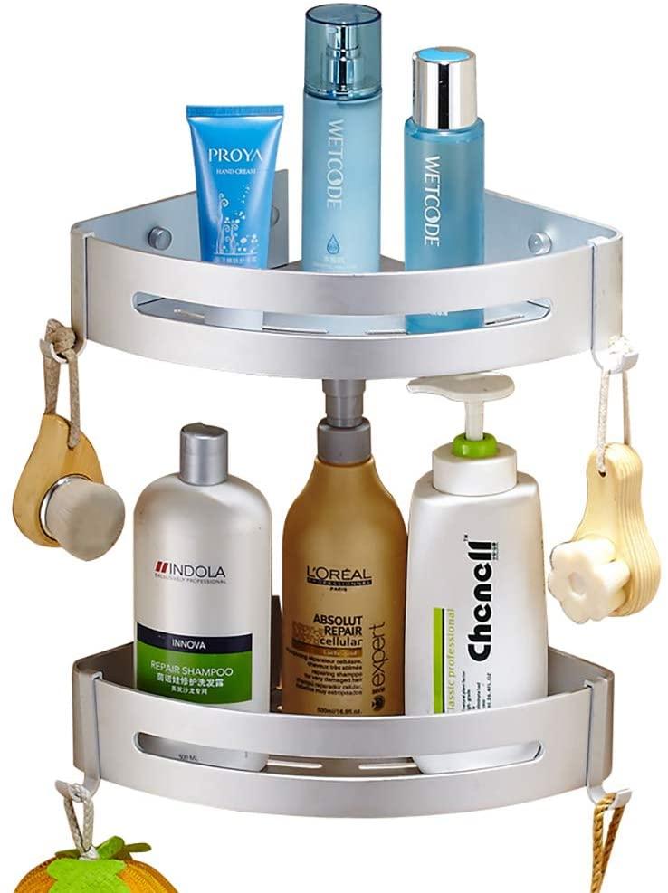Felibeaco 2 Pack Corner Bathroom Shelf, Adjustable Aluminum Corner Shower Caddy, Adhesive Wall Mounted Storage Organize Rack,Triangle Basket for Washroom,Toilet, Kitchen,Dorm,No Drilling, Matt Silver