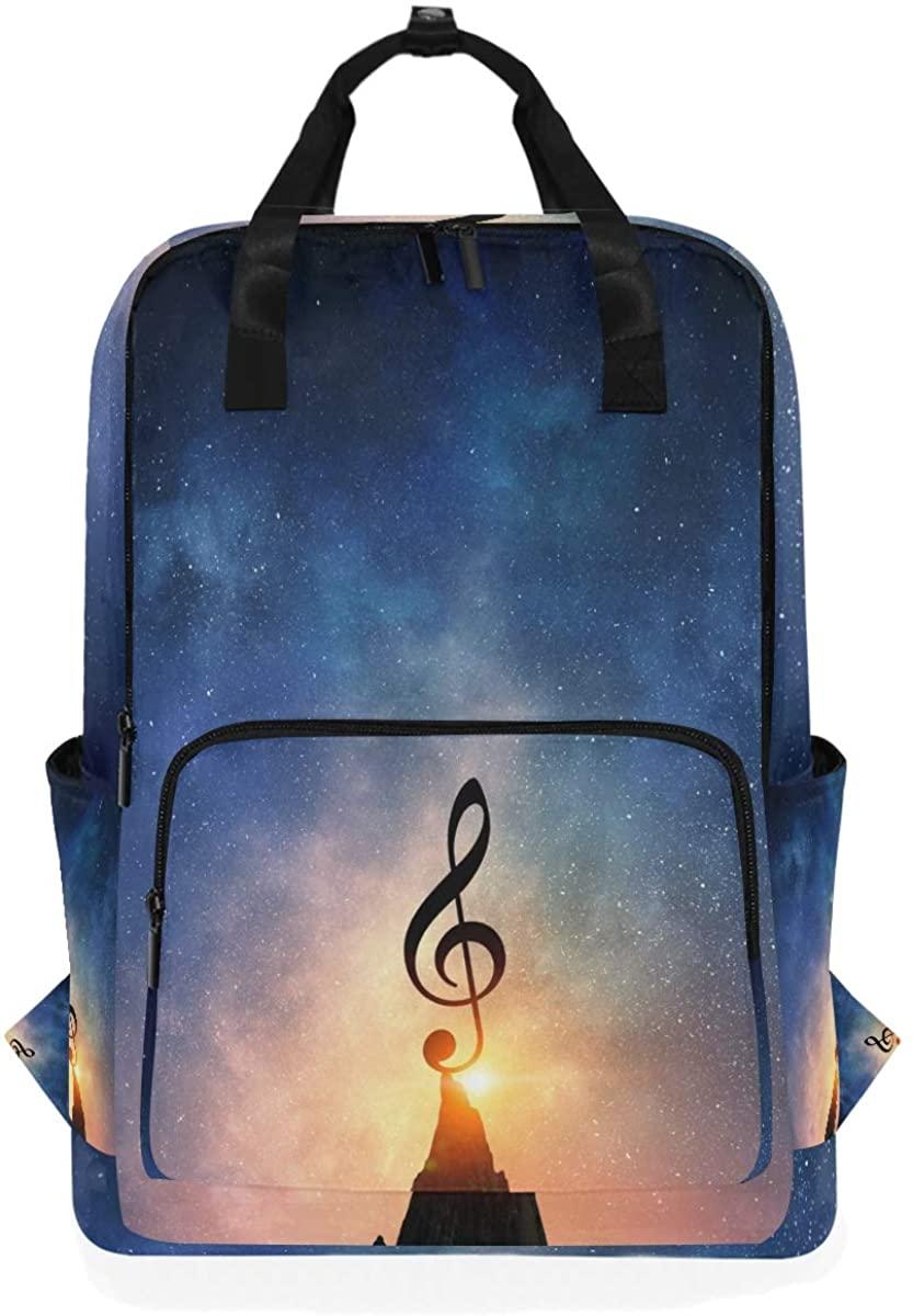Kaariok Star Galaxy Music Clef Backpack School Travel Daypack Laptop College Bookbag 14 Inch Doctor Bag