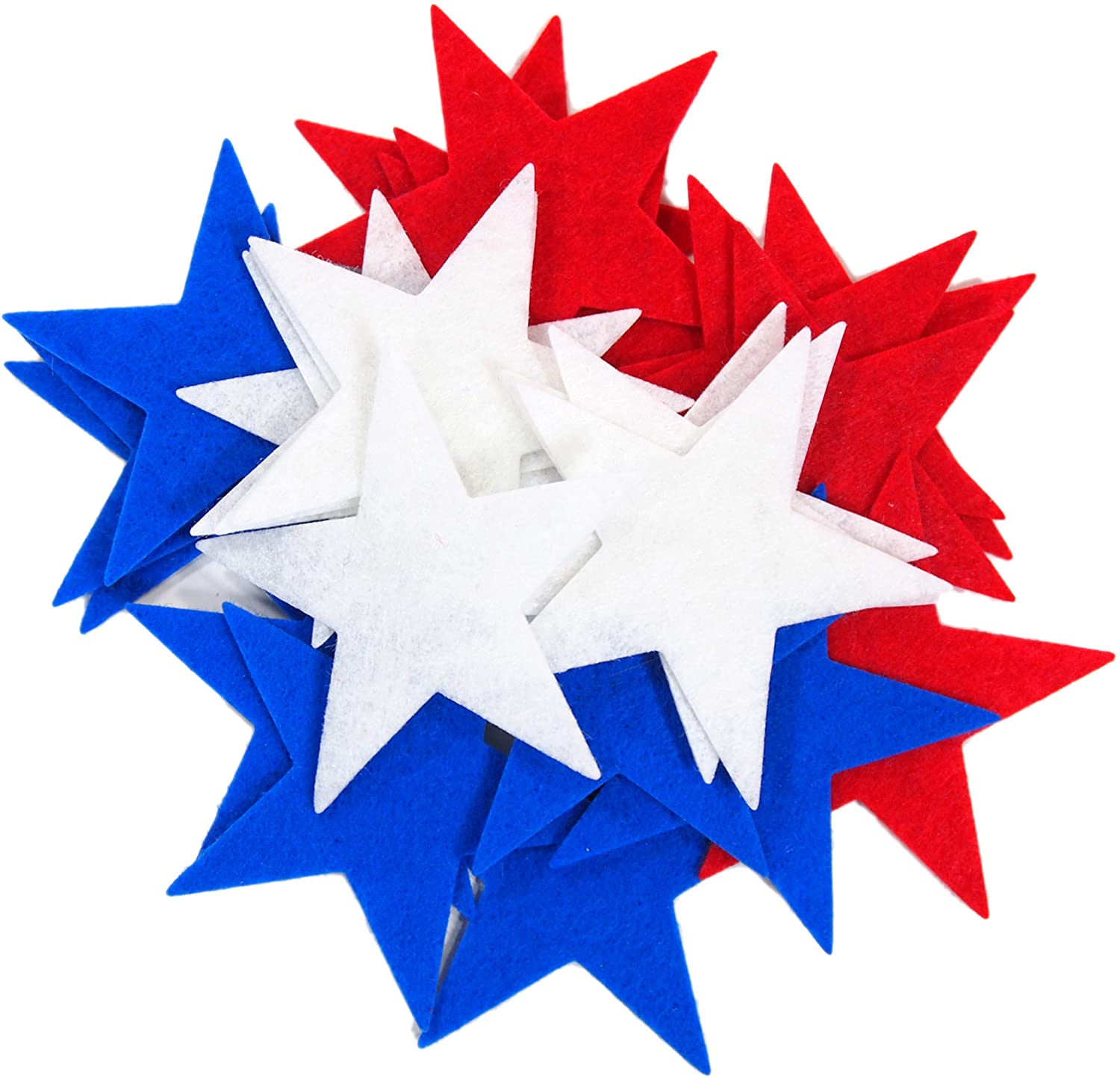 Playfully Ever After 1.5 inch Stiff Felt Stars 88pc (Red, White, Blue)