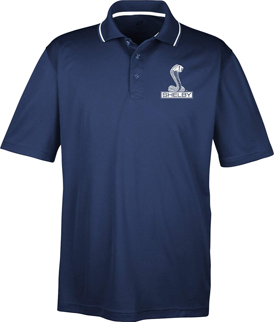 Ford Mustang Shelby Cobra Pocket Print Two Tone Polo, Navy 3XL