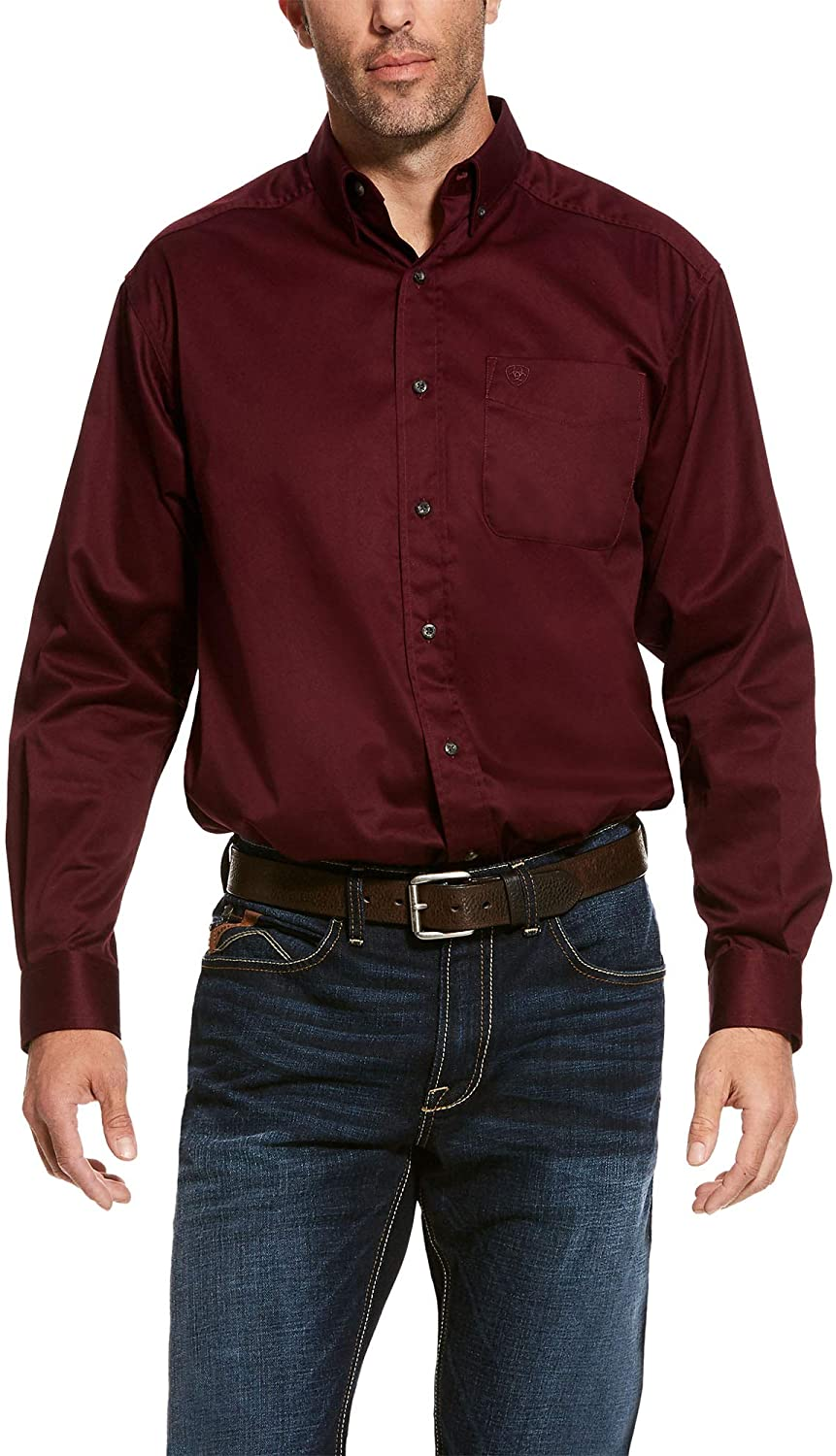 ARIAT Men's Solid Twill Classic Long Sleeve Shirt