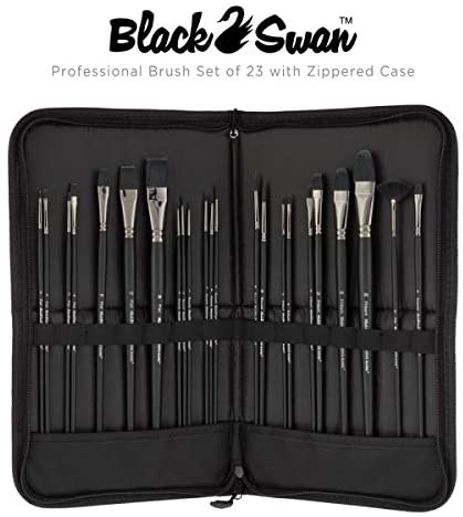 Creative Mark Black Swan Paint Brush Set Synthetic Red Sable Brushes for Acrylics, Oils, Glazings & Heavy Body Media - [Set of 23 Assorted Brushes w/Brush Easel Case]