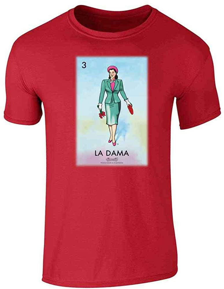 La DAMA Woman Lady Loteria Card Mexican Bingo Red L Graphic Tee T-Shirt for Men