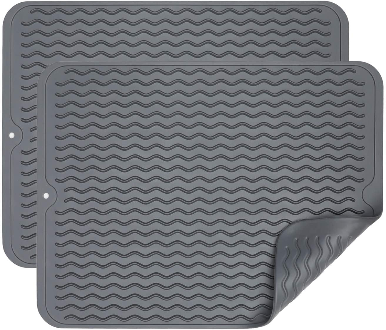 Dish Drying Mat for Kitchen Counter Small Silicone Drying Mat 16 x 12 Inch Easy Clean Dish Mat Grey 2 Pack
