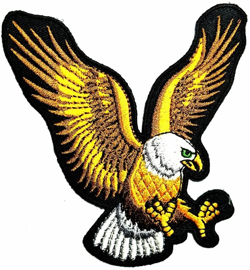 HHO Majestic American Spirit National Bald Eagle Bird Patch Embroidered DIY Patches, Cute Applique Sew Iron on Kids Craft Patch for Bags Jackets Jeans Clothes