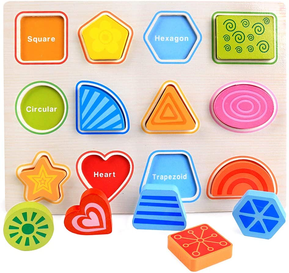 Blppldyci Shape Puzzle Wooden Peg Puzzle for Toddlers 2 3 4 Year Old Kids - Preschool Educational Chunky Puzzles for Kids - Toddler Montessori Learning Puzzle Toys Gift for Girls and Boys