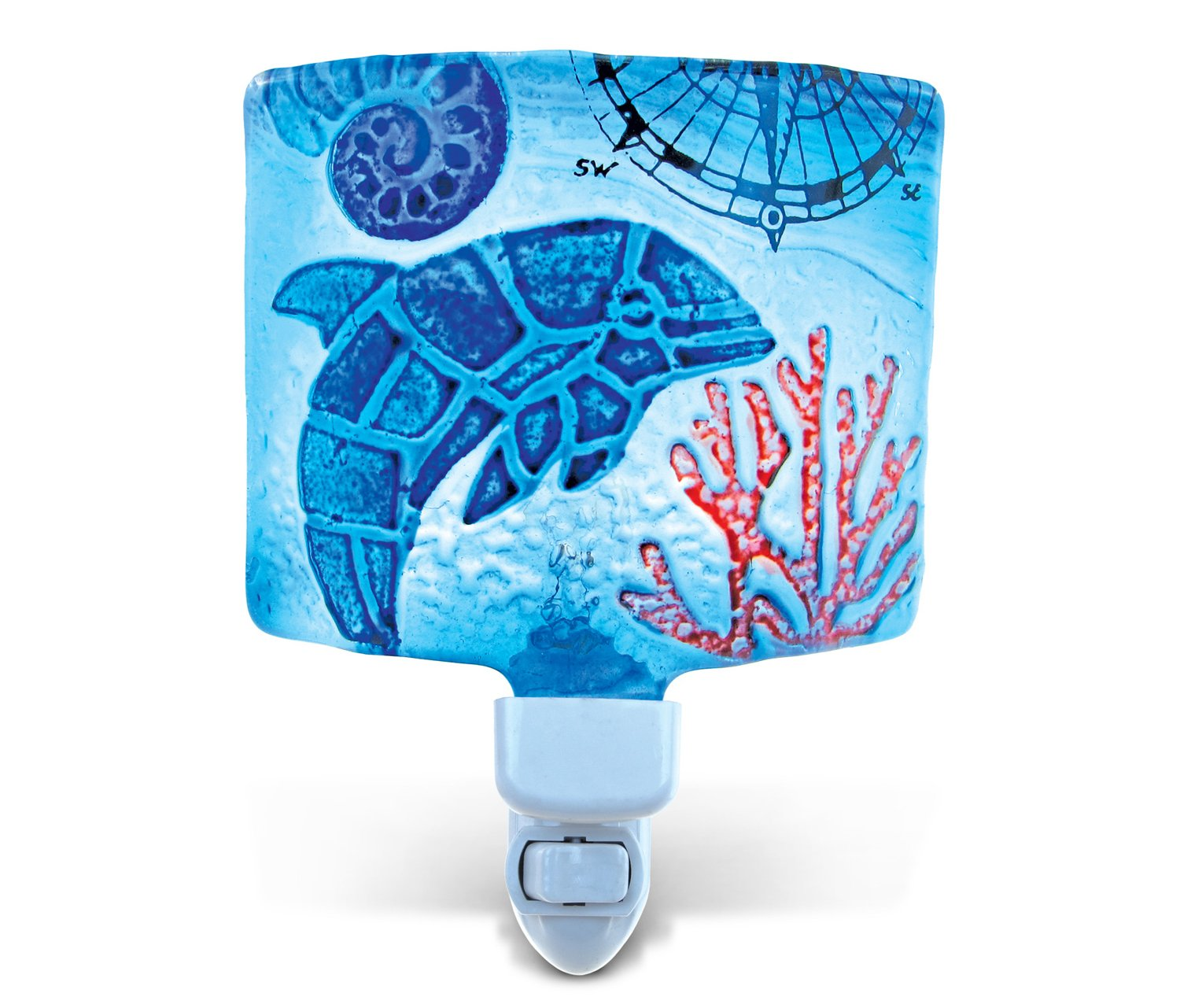 Puzzled Dolphin Night Light, Glass Art Plug in Energy Efficient Decorative Socket Lamp Manual On & Off Portable Lights Stairway Hallway Bedroom Bathroom Nursery Kids Accessory Home & Kitchen Decor