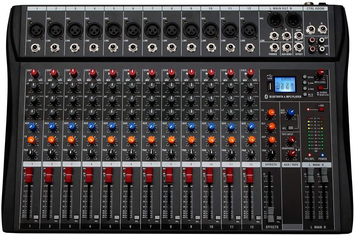 Depusheng 12 Channel Bluetooth Digital Microphone Sound Mixer Console Professional Karaoke Audio Mixer Amplifier with USB