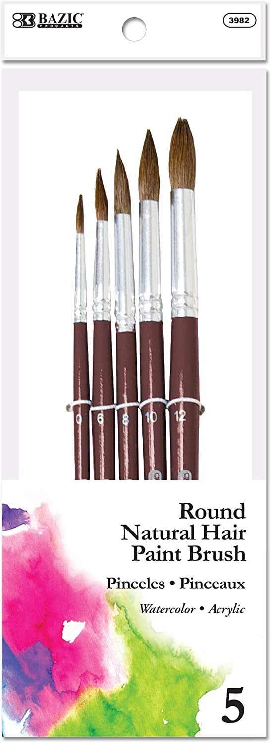 BAZIC Round Natural Hair Paint Brush Set, Great for Acrylic Oil Watercolor Gouache Body Painting Skin Art Artist (5/Pack)