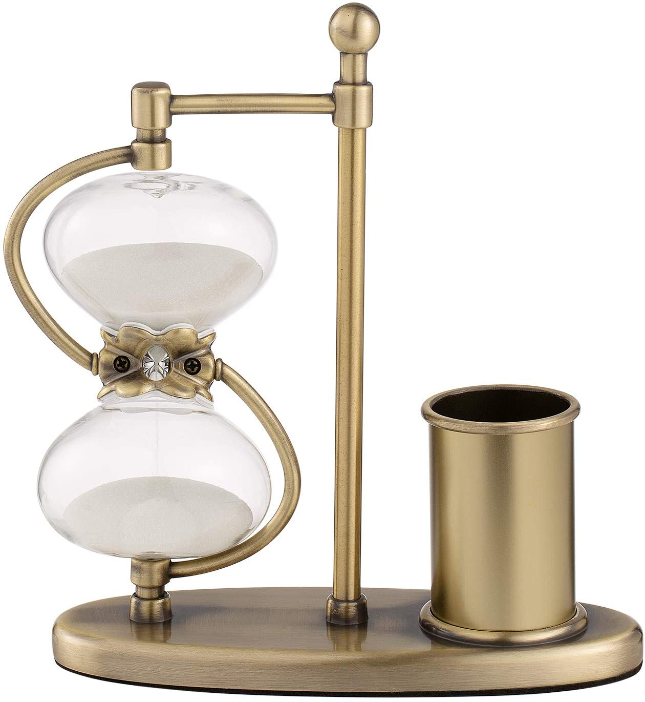 KSMA Metal Pen Polder Hourglass 60 Minutes,360°Rotating Brass-Tone Hour Glass Sand Timer for Home Wedding Gift with White Sand