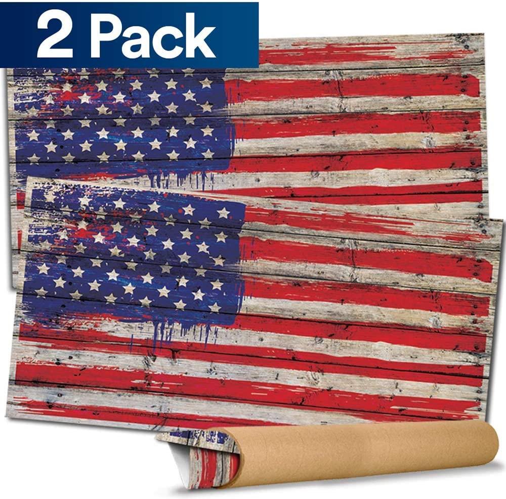 Pixelverse Design Cornhole Board Skin Wrap Decal - Vinyl Tournament Corn Hole Bean Bag Toss Sticker - Weather Resistant USA Flag Board Game - for Children Adults Colleges Festivals & Bars - 24.5x48.5