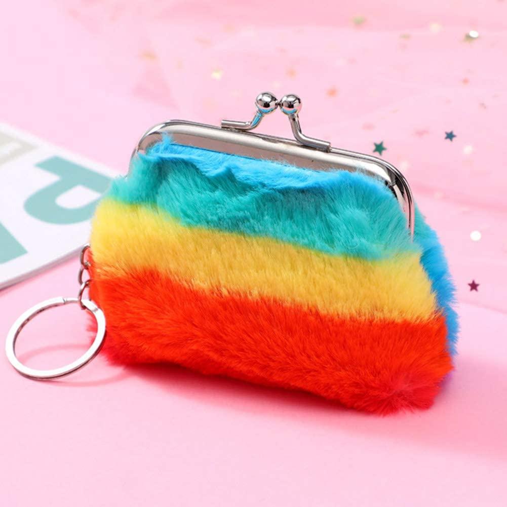 i7kbgshj Kiss-Lock Coin Purse Rainbow Plush Women Girls Wallets Money Bag Clutch Pouch Cosmetic Jewelry Key Bag Keychain Wallet(#2)