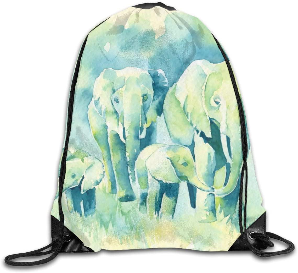 Elephant Family Drawstring Backpack, Shoulder Bags String Bag Sackpack Cinch Water Resistant for School Travel Gym Shopping Sport Yoga Storage for Women Men