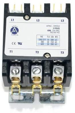 Appli Parts Heavy Duty 3 Poles Contactor 50 Amp 24 Volts Coil UL 476929 Apac-35024