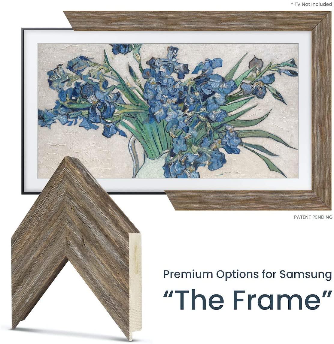 Deco TV Frames - Distressed Barnwood Frame Custom for Samsung The Frame TV(55