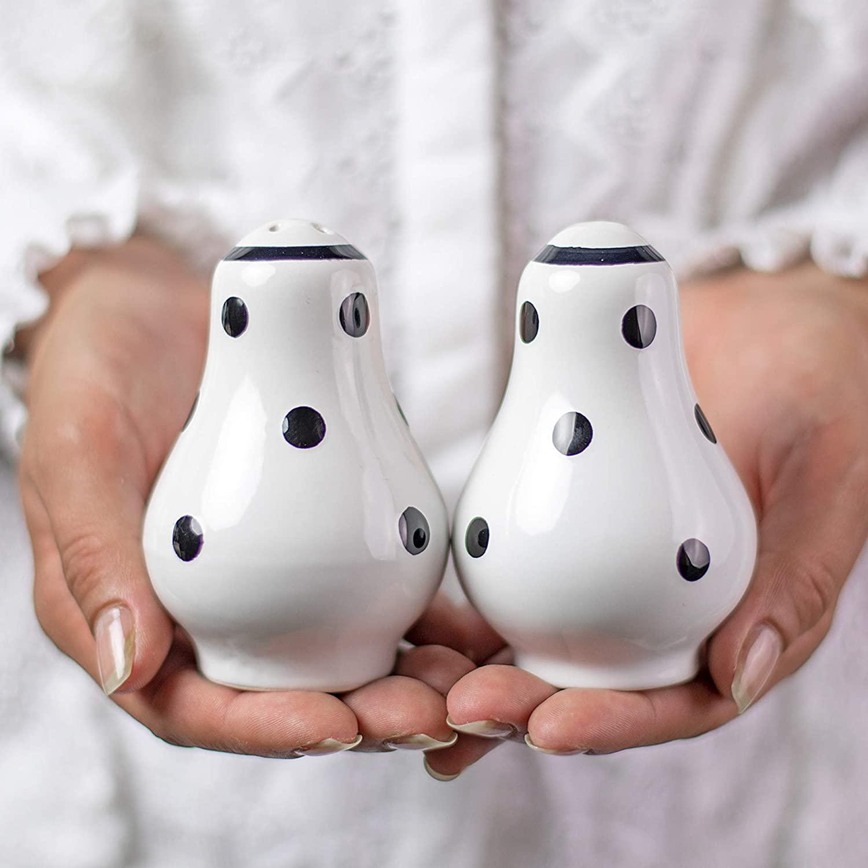 Handmade White and Black Polka Dot Ceramic Salt and Pepper Pots, Shakers, Cruet Set, Holder, Housewarming Gift by City to Cottage