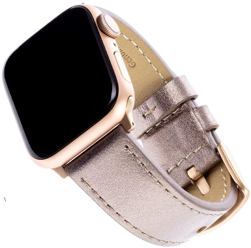 WITHit Leather Replacement Band for Apple Watch, 38/40mm, Bronze Leather – Secure, Adjustable Stainless-Steel Buckle Closure, Apple Watch Wristband Replacement, Fits Most Wrists